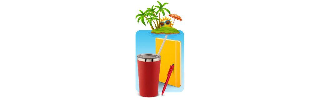 Mug, notebook and pen