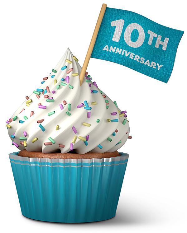 10th anniversary cupcake